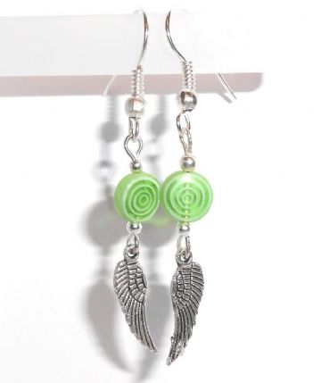 Murano Glass & Wings Earrings